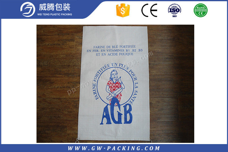 Durable Flour Packaging Bags Loading 50kg Weight Vivid Printing Effect Dustproof