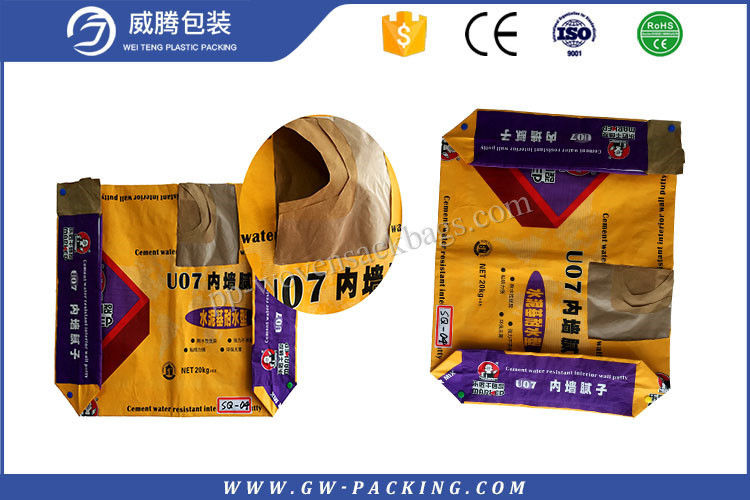 High Standard 80 Pound Bag Of Concrete , Kraft Paper Block Bottom Bags For Building Material