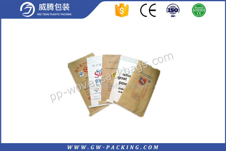 Brown Multiwall Kraft Paper Bags Non - Leakage For Packing Potato Starch
