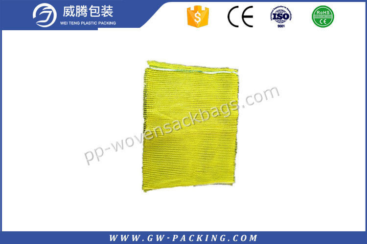 Yellow color Customized Potatoes and Onions packing  Raschel Leno/Mesh Bags