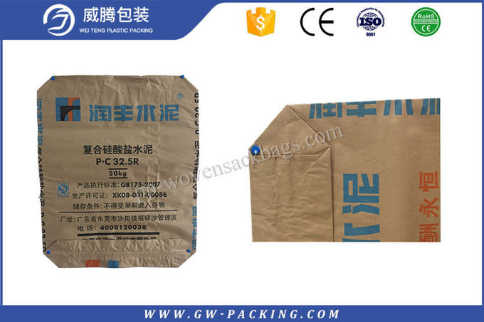 Recyclable  Block Bottom Paper Bags 25kgs Packing Kraft Paper Sacks Non - Leakage